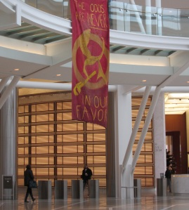 In 2013, Earth First members dropped a Hunger Games styled banner in the rotunda of Oklahoma City's Devon Tower. They put too much glitter on the sign, which fell off and was confused with anthrax. Two activists were charged with Terrorism Hoax, which carries a 10 year sentence.